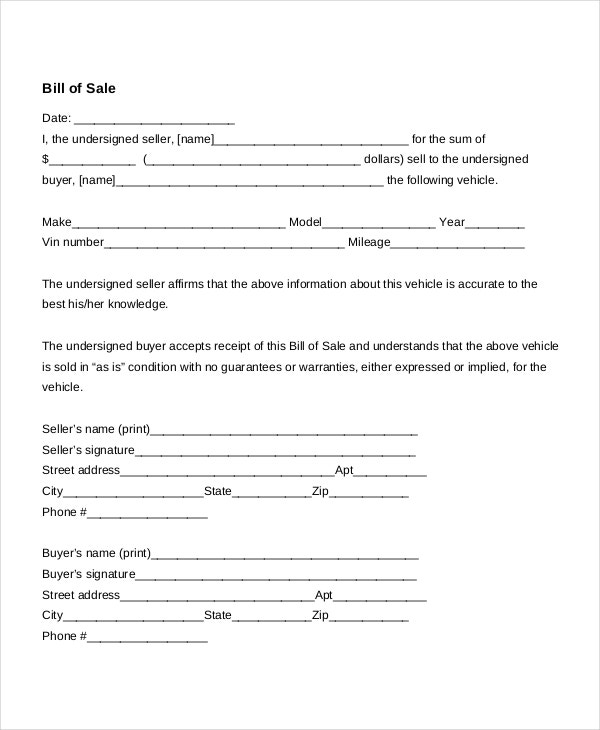 Sell car as is form pdf