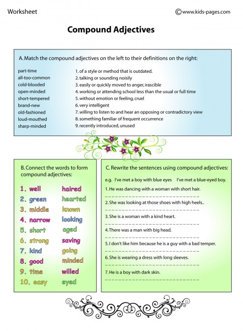 Compound adjectives list examples pdf