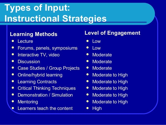 four types of instructional activities