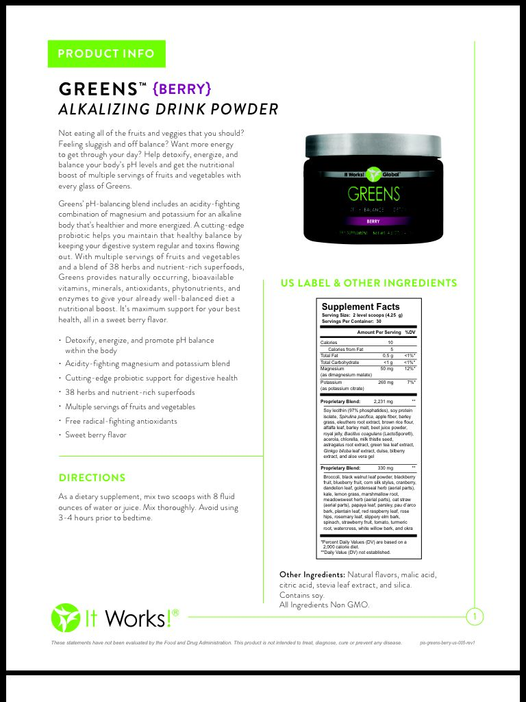 it works greens berry instructions