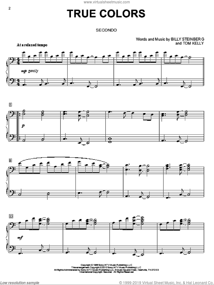 True colours pdf sheet music